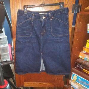 Express dark denim longer length skirt Size 9/10